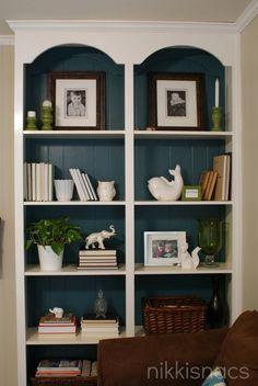 Room white bookshelves, painted bookshelves, gold shelves, pine bookcase, l Casual Living Rooms, Living Room Decor, Bedroom Decor, Dining Room, Painted Bookshelves, Bookshelves Built In, Pine Bookcase, Built Ins, Sauder Bookcase