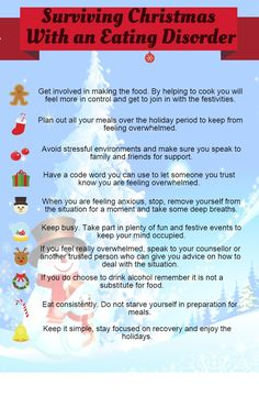 Surviving Christmas with an eating disorder Not the most cohesive help guide, but I know how hard it is to be at food centered holidays without any coping strategies, so here's this. Support is everywhere, we have to help each other. <3,