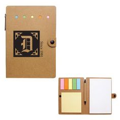 Large Snap Notebook with Desk Essentials | A desktop must-have, it includes sticky flags in 5 neon colors, sticky notes, a 70 page unlined notebook, and a matching pen with a paper barrel | With an easy snap closure, all of your important notes will stay secure when handing out this promotion at tradeshows, training seminars, schools, and even corporate meetings | Imprint | Company Logo | Customize | Students | Teachers | Office supplies | Callard | Promotional Product