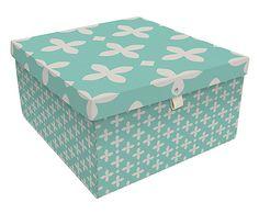 Caixa Organizadora Flor de Lis Acqua - 40X40cm