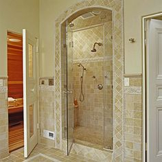 """YES to the Sauna! """"Master Bath"""" --- Walk in shower with a sauna next door. This would be amazing in my BHG Dream Home's Master Bath! Master Bathroom Shower, Downstairs Bathroom, Bathroom Ideas, Sauna Shower, Dream Shower, Home Spa, My Escape, Better Homes And Gardens, Beautiful Bathrooms"""