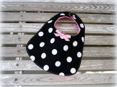 Baby Girl Boutique Style Bib in Black and White by MickeyandGrace, $9.00