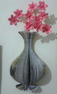 Wall mounted flower vase(book art)