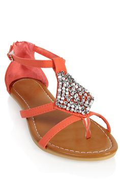 Deb Shops #coral beaded front strap #sandal