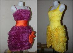 Alex Vidal yellow and purple mini dress