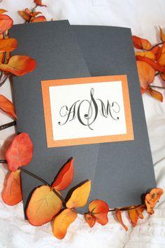 Sophisticated Spring Grey and Orange Tri Fold Wedding Invitation