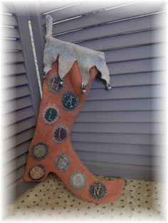 Primitive Folk Art Halloween Fall Woolen Penny Rug by mustardseed, $32.99