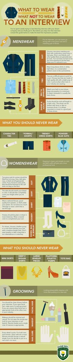 Just pinned this from manteresting.com - interview clothing etiquette