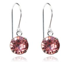 Peach Rose Single Crystal Drop Earrings - $9.80