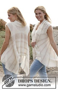 """Ravelry: 138-13 """"Rays of Sun"""" - Vest in garter st in """"Vivaldi"""" with lace pattern in """"Cotton Viscose"""" pattern by DROPS design"""
