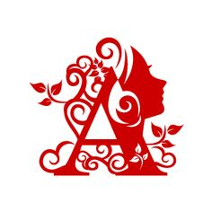 Graphic Design of Flower Clipart - Red Alphabet A with White Background