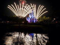 Firework reflections in the lake in front of Cinderella's Castle