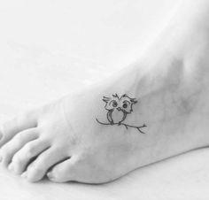 Super Cute Owl Tattoos on Foot