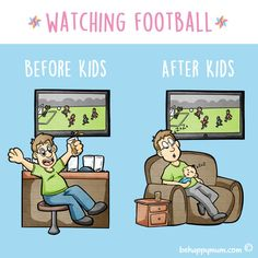 Who agrees that this is an oh-so-true depiction?! If you need a laugh, you can find more from our Before & After Kids series here: http://www.behappymum.com/mum-support-and-wellbeing/before-after-kids/  #funny #parenting #fathersday