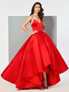 V Neck Pleats Evening Ball Gown With Zipper Up Back