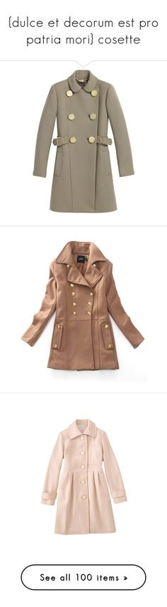 """""""{dulce et decorum est pro patria mori} cosette"""" by eclipsedbythemoon ❤ liked on Polyvore featuring outerwear, coats, jackets, tops, double breasted belted coat, button coat, brown double breasted coat, brown coat, wool blend double breasted coat and coats & jackets"""