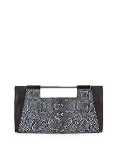 3b81e7e88418 Halston Heritage Mosaic Python-Embossed Leather Clutch Bag