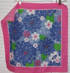 Lilly Pulitzer Ford Bandana Scarf Blue Pink Cancer 2005 Flower #LillyPulitzer #Bandana
