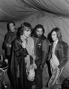"""Mick Jagger & Charlie Watts with Hell's Angel Bill """"Sweet William"""" Fritsch.  He plays an interesting role in the documentary """"Gimme Shelter""""."""