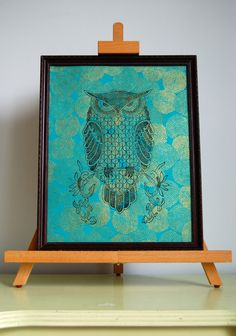 Owl print on teal with gold mums, original 11 x 14 poster. $20.00, via Etsy.