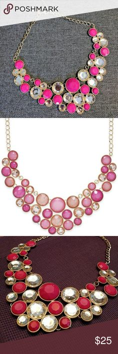 "Final price! INC Pink Bubble Gold-Tone Necklace In good condition! Perfect for a bubbly personality, INC International Concepts' crystal bib necklace casts colorful sparkle across the neckline. Set in gold-tone mixed metal.   Approximate length: 18"" + 3"" extender.  Approximate drop: 4-1/2"". INC International Concepts Jewelry Necklaces"