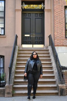 When it comes to wanting to slay your outfits, a nice jacket is an easy way to do that   Plus size streetwear black girl   Plus size streetwear outfits Plus Size Fashion Blog, Curvy Fashion, Stylish Plus Size Clothing, Studded Jacket, Cool Jackets, T Shirt And Jeans, Fall Wardrobe, Street Style Women, Streetwear Fashion