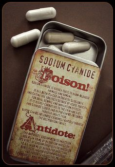 Cyanide poison large pillbox tin / stash case, victorian style. by AberrantAffixments, $5.00