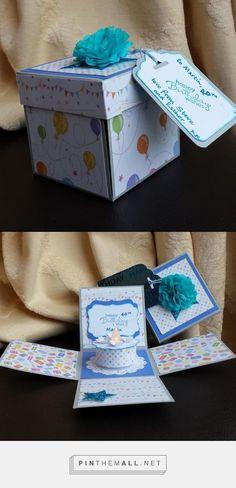 Explosion Box Card with birthday cake tealight. - created via http://pinthemall.net