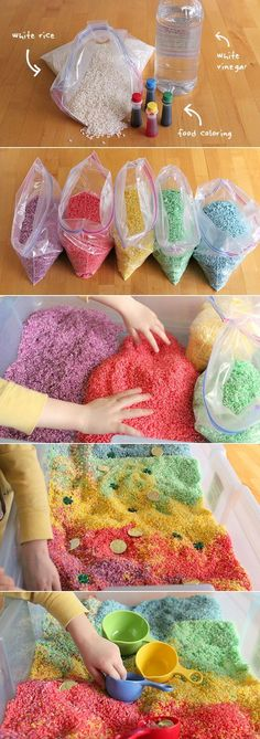 Sensory Box How to make rainbow rice for arts, crafts, and sensory play. (Play Recipe)How to make rainbow rice for arts, crafts, and sensory play. Cool Diy Projects, Projects For Kids, Diy For Kids, Crafts For Kids, Arts And Crafts, Art Projects, Children Crafts, Quick Crafts, Sensory Boxes