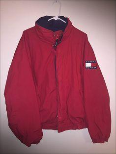 Vintage 90 ' s Tommy Hilfiger bandera reversible chaqueta
