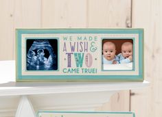 Twins Frame from Grasslands Road with acrylic gems #Ceramic #Glass #Hang #Stand #GiftBoxed #Nursery #GiftIdea #GrasslandsRoad #Baby