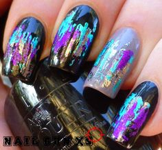 Image result for purple foil nails