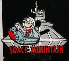 Disney Mickey Mouse Riding Space Mountain Slider Pin New on Original Card | eBay