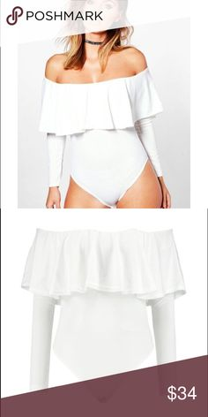 White off the shoulder ruffle long sleeve bodysuit 100% polyester, long sleeve off shoulder ruffle bodysuit / model wears a size S/6. Bought in ASOS ASOS Tops Blouses