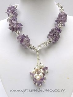 Amethyst, pearls and silver beads
