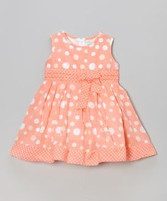 Look what I found on #zulily! Coral Polka Dot Sleeveless A-Line Dress - Toddler & Girls by Littoe Potatoes #zulilyfinds