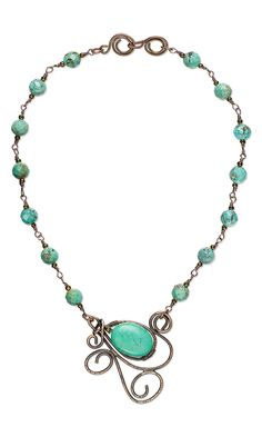 Jewelry Design - Single-Strand Necklace with Turquoise Gemstone Beads and Wirework - Fire Mountain Gems and Beads