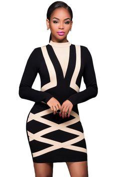 Contrast Apricot Accent Long Sleeve Little Black Dress 02eba3fe0b79