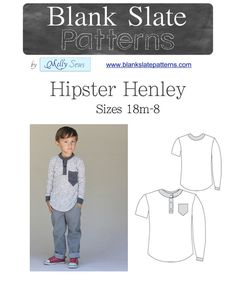 Sewing pattern for boys! Unisex Hipster Henley PDF Pattern - 18M to 8 Years - by Blank Slate Patterns via lilblueboo.com
