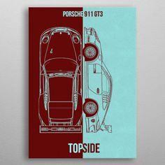 """Beautiful """"porsche 911 metal poster created by DESIGN. Our Displate metal prints will make your walls awesome. Porsche 911 Gt3, My Plate, Good Company, Trees To Plant, Cyber, Posters, Cars, Metal, Prints"""