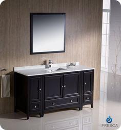 """Fresca 60"""" Espresso Traditional Bathroom Vanity, Mirror, Faucet, 2 Cabinets"""