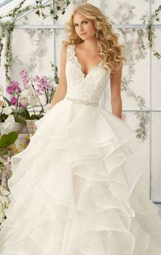 Venice Lace Flounced Ballgown by Bridal by Mori Lee 2805