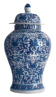 Blue and White Lotus Temple Jar - Tozai Home - $200.00 - domino.com