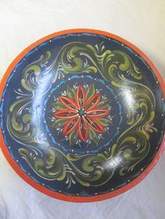 Norwegian Rosemaling in Hallingdal Style Wooden Bowl