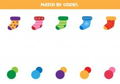Match Socks And Colors. Educational Game For Kids.