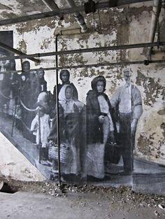 French street artist JR installed archival images onto the walls of Ellis Island's abandoned immigrant hospital. Murals Street Art, Graffiti Art, Urban Street Art, Urban Art, Street Gallery, Art Gallery, Island Hospital, Ghost Images, French Street