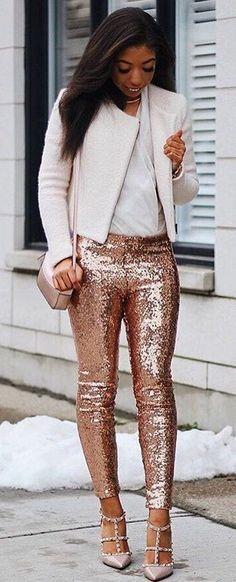 #winter #fashion /  Sequins Skinny Pants + Light Pink Blazer