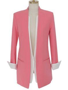 Shop Long Sleeve Cuffed Slim Blazer at ROMWE, discover more fashion styles online. Casual Blazer Women, Blazers For Women, Ladies Blazers, Moncler Jacket Women, Casual Dresses, Fashion Dresses, Shirt Dress Pattern, Look 2018, Collarless Jacket