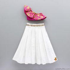 Pre Order: One Shoulder Crop Top With White Skirt Girls Frock Design, Kids Frocks Design, Baby Frocks Designs, Baby Dress Design, Kids Gown Design, Kids Indian Wear, Kids Ethnic Wear, Indian Dresses For Kids, Indian Baby Girl