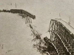 "Feb10,1903,North Pacif rotary in heavy snows.A breakdown trapped them in deep snow,they halted the train at the ""S"" Bridge, an 839 foot sinuous trestle A pusher engine & caboose were left in the open while the rest rested on solid ground.a big snowslide ripped out a portion of bridge.Rear engine & caboose plunged into the gorge, burying engine in deep snow & caboose & its seven sleeping occupants lay shattered on top. passenger car, with eight aboard,hung off the end of the broken trestle…"